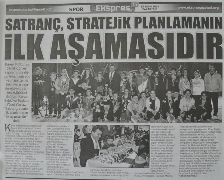 13.10.2014 Basında çıkan haberlerimiz...