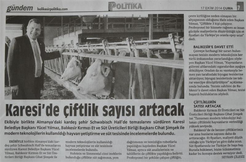 17.10.2014 Basında çıkan haberlerimiz......