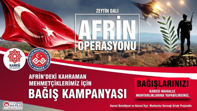 Karesi'de Afrin kahramanları için bağış kampanyası başladı