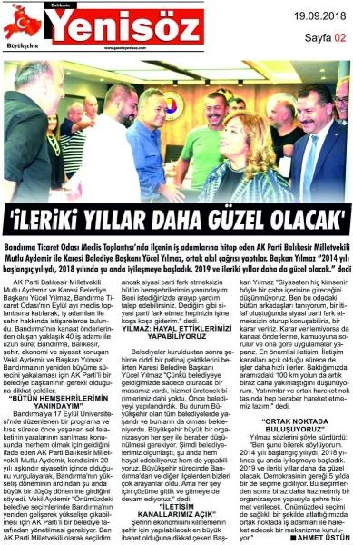 19.09.2018 BASINDA ÇIKAN HABERLERİMİZ