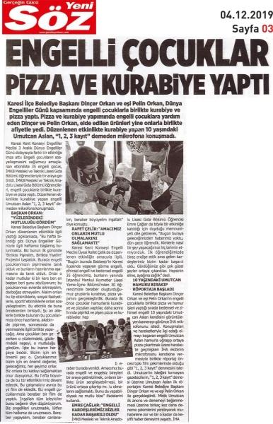 04.12.2019 BASINDA ÇIKAN HABERLERİMİZ