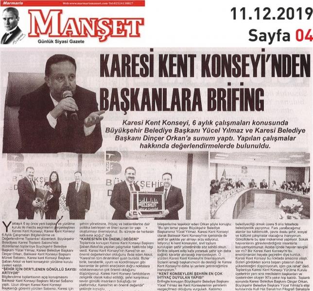 11.12.2019 BASINDA ÇIKAN HABERLERİMİZ