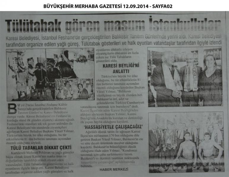 12.09.2014 ULUSAL ve YEREL basında çıkan haberlerimiz