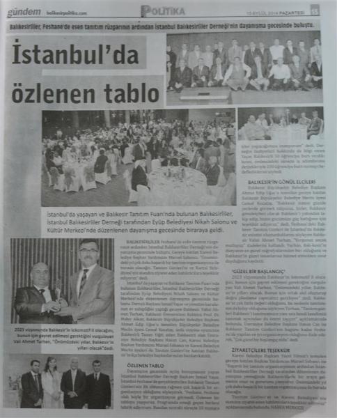 15.09.2014 ULUSAL ve YEREL basında çıkan haberlerimiz