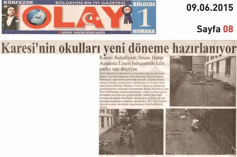 09.06.2015 Basında Çıkan Haberlerimiz