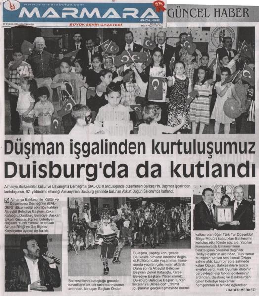 17.09.2014 Basında çıkan haberlerimiz
