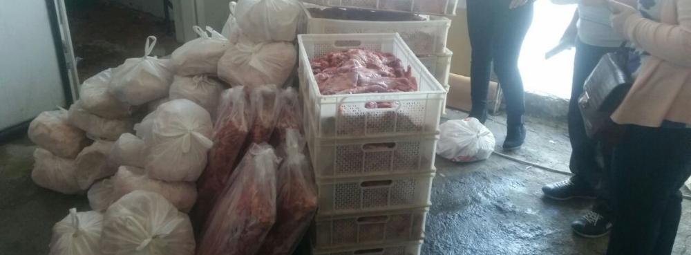 Karesi'de 590 kg kaçak et ele geçirildi